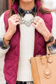 #winter #fashion /  Burgundy Puff Vest + White Knit + Necklace