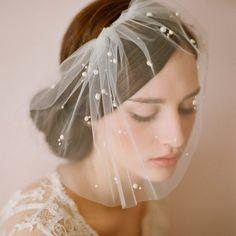 送料無料蜂蜜normic小枝真珠ファッションの簡単なネットワークソフトショートベール花嫁のスタイルのヘアアクセサリー