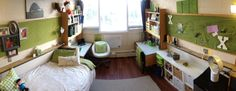 University of Alberta student residences - Here is a decked out single bedroom in Lister Hall! Love the colours! University Of Alberta, Queen's University, Bedroom Wooden Floor, Master Room Design, Single Bedroom, Cool Rooms, Dorm Room, Modern Decor, Interior Decorating