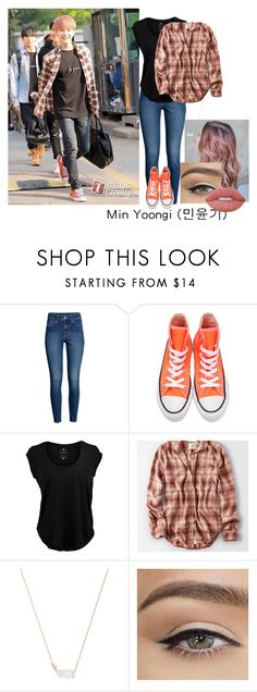 """""""Simple Min Yoongi Inspired Look"""" by mintsugabear ❤ liked on Polyvore featuring H&M, Converse, Velvet by Graham & Spencer, American Eagle Outfitters, Kendra Scott and Lime Crime"""