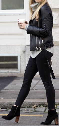 #Winter #Outfits / Leather Jacket + Gray Turtleneck Knit