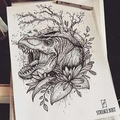 T rex by strange dust Top Tattoos, Body Art Tattoos, Hand Tattoos, Tatoos, T Rex Tattoo, Tattoo Drawings, Velociraptor Tattoo, Jurassic Park Tattoo, Blackwork