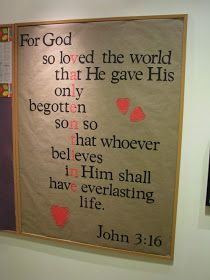 Scripture Burlap Banner  Though this is a bulletin board, you could totally stencil this verse out with red and black paint on burlap fabric...