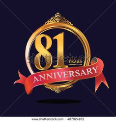 81 years anniversary golden logo with soft red ribbon. anniversary logo for birthday, celebration, wedding, party