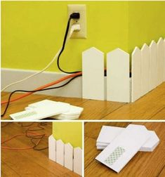 cut idea to hide wires.especially in a play room, rec room or kids room.However, if I was using in a play room or kids room I wouldnt use a picket fence but a rounded top - Diy for Home Decor Hide Cables, Hide Wires, Hiding Cords, Hide Electrical Cords, Electrical Outlets, Ideas Geniales, Home And Deco, Home Organization, Organizing Solutions