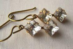 gold niobium vintage double diamond earrings  audrey  by Variya, $38.00