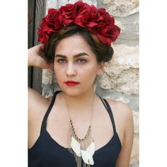 Wine Blood Red Rose Flower Crown Headband (Frida Costume Halloween... ($13) ❤ liked on Polyvore featuring accessories, hair accessories, bride flower crown, boho headband, bride hair accessories, red rose headband and bridal headband
