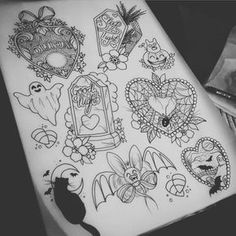 """547 Likes, 19 Comments - Isobel Juliet Stevenson Morton (@isobelmortontattoo) on Instagram: """"More of the Halloween flash sheet! I would love to do all of these  please email me if you wish to…"""""""