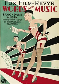 """Movie poster """"Words and Music"""", 1929, directed by James Tinling, Fox. (Swedish)"""