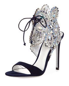 Rene Caovilla Crystal Ankle-Tie Evening Sandal, Navy Blue | Buy ➜ http://shoespost.com/rene-caovilla-crystal-ankle-tie-evening-sandal-navy-blue/