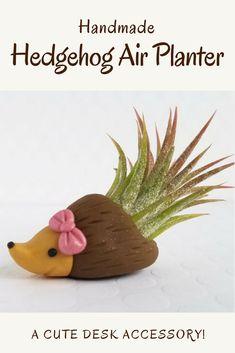 Handmade Hedgehog Air Planter #affiliate, #planter, #gardening, #deskaccessory, #hedgehog, #plant, #officedesign