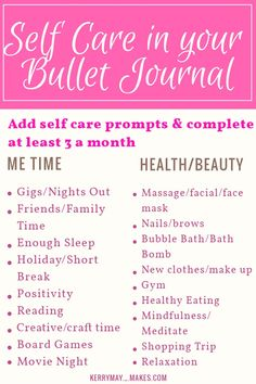 Self care in your bullet journal and Bujo mood tracking ideas - Kerrymay. Bujo, Bullet Journal How To Start A, Bullet Journal Inspiration, Journal Layout, Journal Prompts, Journal Ideas, Bullet Journal Printables, Bullet Journals, Personal Planners