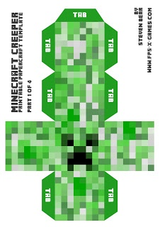 Printable  Papercraft template Minecraft Creeper