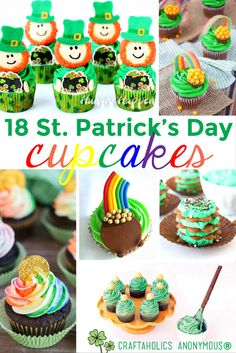 18 St. Patricks Day Cupcakes from Craftaholics Anonymous
