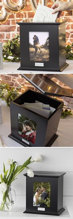 Black finish wood photo frame gift card box personalized with a self-adhesive metal plate laser engraved with the bride and groom's name and wedding date for gift cards, guest signatures, marriage advice notes or money gifts Wedding Cards Keepsake, Wedding Keepsakes, Card Box Wedding, Wedding Table, Wedding Favors, Wedding Decorations, Wedding Reception, Table Decorations, Wedding 2017