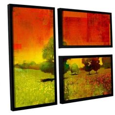 ArtWall Greg Simanson Drenched Grace 3-Piece Floater Framed Canvas Flag Set, Size: Oversized 41 inch+, Green