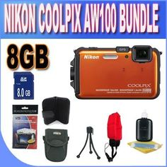 Nikon COOLPIX AW100 16 MP CMOS Waterproof Digital Camera with GPS and Full HD 1080p Video (Orange) + 8GB SDHC Memory + Memory Card Wallet + Floating Strap + Shock Proof Deluxe Case w/Strap + Cleaning Kit + Accessory Saver Bundle! by Nikon. $280.89. Kit Includes! 1- Nikon COOLPIX AW100 w/ All Supplied Accessories 1- 8GB SDHC Memory Card (Don't Miss a Memory!) 1- Camera Floating Strap  1- Shock Proof Case (Protect Your Camera!) 1- Pack of LCD Screen Protectors (Protect...