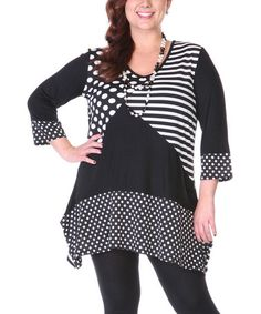 Another great find on #zulily! Black & White Polka Dot Tunic - Plus #zulilyfinds