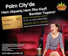 Palm City'de hem alışveriş hem sinema keyfi beraber yaşanır! shop&win kartınızla üye mağazalardan aynı gün içinde toplamda 75 TL ve üzeri alışveriş yapın, bir adet sinema bileti kazanın! #cinemarine #alisveris #sinema #bilet #hediye #palmcitymersinavm