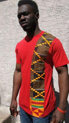 Heritage T Shirt African Print Striped T shirt Kente by Shipella