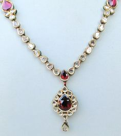 VINTAGE ENAMEL WORK 20 CARAT GOLD DIAMOND POLKI NECKLACE PENDANT RAJASTHAN INDIA