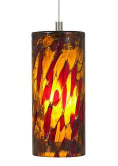 LBL Lighting Abbey Amber-Red 50W Monopoint 1 Light Track Pendant Satin Nickel Indoor Lighting Pendants Mini