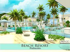 Beach Resort by Pralinesims at TSR via Sims 4 Updates