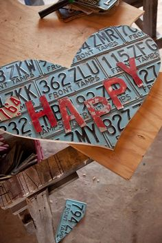 our HAPPY HEART DIY out of vintage license plates! see episodes now on Great American Country!!! #gramco #hgtv #DIY