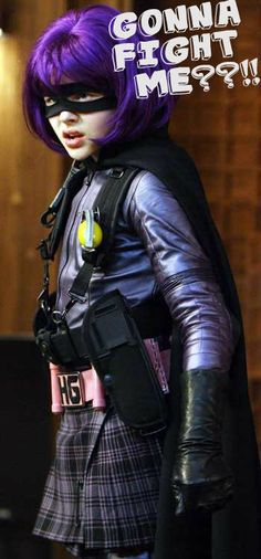 Hit Girl The preteen killing machine, decked out in mask, kilt and purple wig, is expertly portrayed by 13-year-old Chloe!!