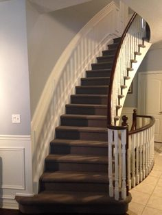 Elegant dark berber was installed on these stairs in Brooklin. Visit our website: www.floorsinmotion.com to learn more about us. 'Like' our page: www.facebook.com/floorsinmotion to keep informed on special offers and promotions.