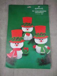 bfa5afb0701 1970s We Three Snowmen centerpiece Hallmark honeycomb tissue NIP 10.25