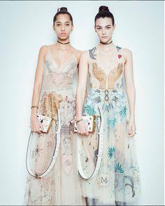 Yasmin Wijnaldum and Vittoria Ceretti in Dior Spring Summer 2017 photographed by Maria Grazia Chiuri.