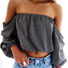 Off the Shoulder Ruche Sleeve Top