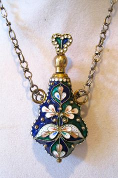 Vintage Russian Silver and Enamel Small Perfume Bottle Hand Made Chain Markd   eBay
