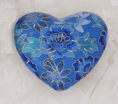 Blue Cloisonne Heart with Gold Inlay