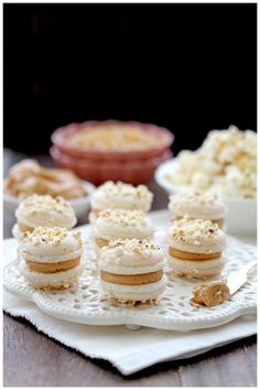 Salted buttered popcorn macarons with caramel
