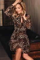 brown leopard print dress, download this press image at www.prshots.com/press #fashion #womens #trend #style #brown #autumn #winter #outfit #ootd