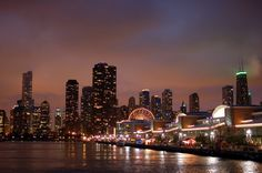 Chicago Skyline at Night Silhouette | Chicago Night Time Navy Pier Skyline Photography7