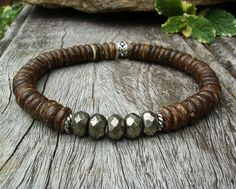 Men's Beaded Bracelet, Brown Coconut Shell, Faceted Pyrite, Rustic, Rugged, Unisex, Stretch, Casual, Beach, Southwest Style, Gift Idea