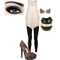 Ditch the cheetah high heels with different high heels and then add a cute jacket.... And then it would be perfection :)