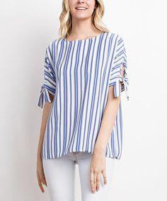 Mittoshop Blue Stripe Tie-Sleeve Top | zulily