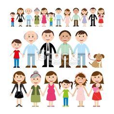 Cartoon illustration of different family members Royalty Free Stock Vector Art Illustration