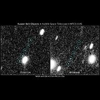 These images are from a Hubble Space Telescope survey to find Kuiper Belt objects (KBOs) in support of NASA's New Horizons mission to Pluto. The Kuiper Belt is a debris field of icy bodies left over from the solar system's formation 4.6 billion years ago.
