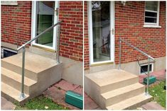 New building outdoor stairs Photographs, nice installing your own easy install simple handrail or 55 building outdoor steps with railroad ties Outside Stair Railing, Exterior Stair Railing, Pipe Railing, Wood Handrail, Outdoor Railings, Concrete Porch, Concrete Stairs, Porch Handrails, Outdoor Steps