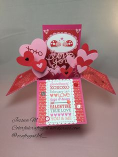 Entered in Simon says stamps Monday Challenge Valentines Day Cards Handmade, Valentine Crafts, Valentine Day Cards, Greeting Cards Handmade, Holiday Cards, Pop Up Box Cards, 3d Cards, Paper Cards, Stampin Up Cards