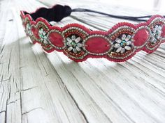 Boho Beaded floral headband boho beaded headband bridal accessories by myfashioncreations, $28.00