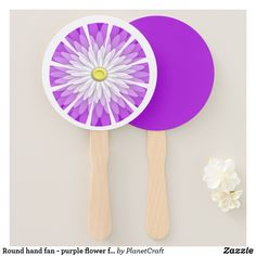 Round hand fan - purple flower fan design