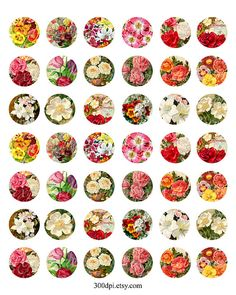 victorian flowers 1 inch round images Printable Download by 300dpi