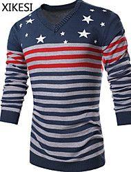 Men's Casual/Work Striped Long Sleeve Regular Pullover (Knitwear) XKS5D18