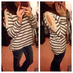 Crochet Shoulder Sweater: $32.99